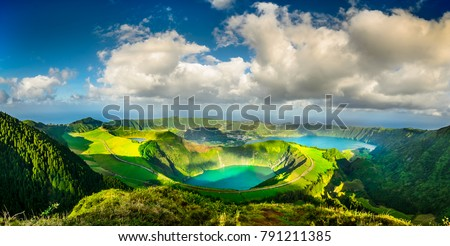 The Blue and Green Lakes, Azores Royalty-Free Stock Photo #791211385