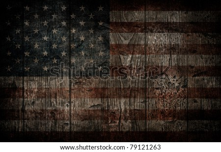 American flag painted on wooden background.