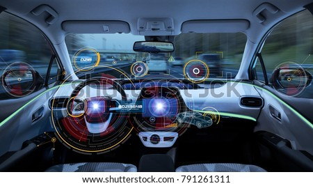 Futuristic car cockpit. Autonomous car. Driverless vehicle. HUD(Head up display). GUI(Graphical User Interface). IoT(Internet of Things). #791261311