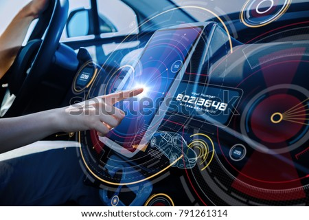 Futuristic car cockpit and touch screen. Autonomous car. Driverless vehicle. HUD(Head up display). GUI(Graphical User Interface). IoT(Internet of Things). #791261314