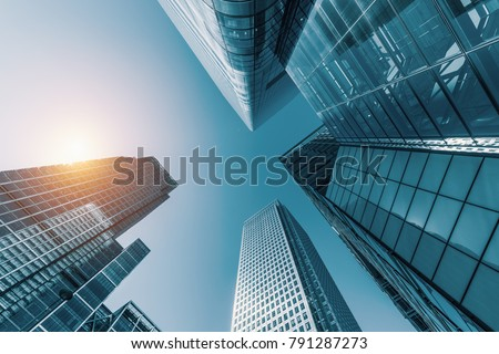 skyscrapers in a finance district #791287273