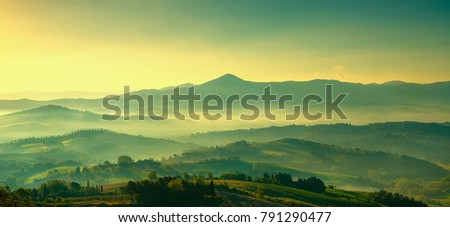 Maremma, rural sunrise landscape. Countryside farm and green fields. Tuscany, Italy, Europe. #791290477