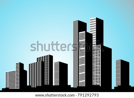 Vector black city silhouette. Background with buildings. City scene. Big skyscrapers panorama. Royalty-Free Stock Photo #791292793
