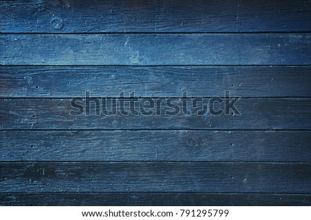 Vintage wooden dark blue horizontal boards. Front view with copy space. Background for design.
