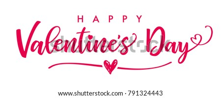 Lettering Happy Valentines Day banner. Valentines Day greeting card template with typography text happy valentine`s day and red heart and line on background. Vector illustration Royalty-Free Stock Photo #791324443