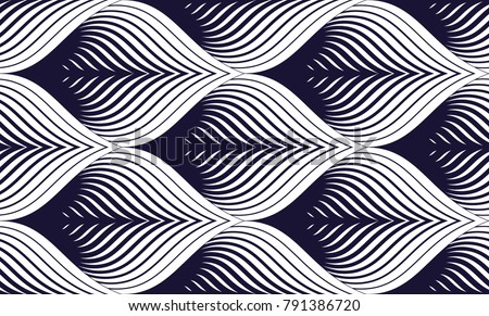 Seamless geometric pattern. Geometric simple fashion fabric print. Vector repeating tile texture. Roof tiling or fish squama shapes motif. Single color, black and white. Usable for fabric, wallpaper Royalty-Free Stock Photo #791386720