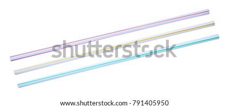 Three drinking straws isolated on white background. #791405950