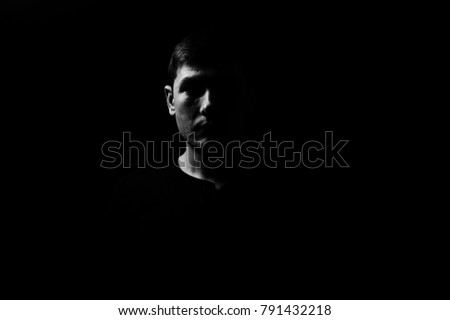 black and white man  portrait silhouette  #791432218