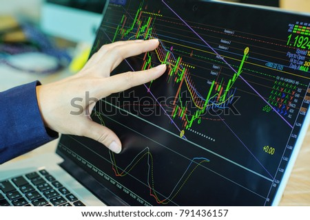 business people working with stock trading forex with technical indicator tool on laptop Royalty-Free Stock Photo #791436157