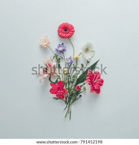 Creative layout made of various flowers. Flat lay bouquet. Love concept. #791452198