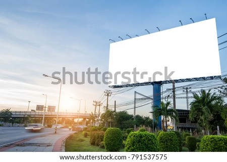 billboard blank for outdoor advertising poster or blank billboard for advertisement at sunset #791537575
