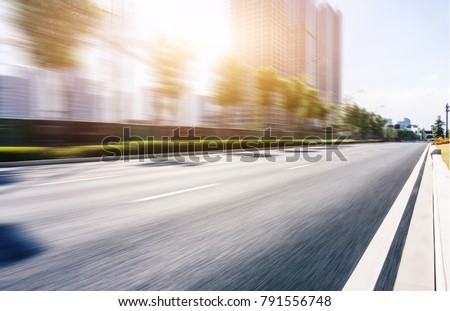 empty asphalt road front of cityscape in hangzhou,china #791556748