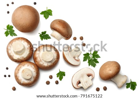 Fresh champignon mushrooms isolated on white background. top view Royalty-Free Stock Photo #791675122