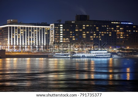 Budapest, Hungary. 5th January 2017. The luxurious hotels on the eastern banks of the River Danube have wonderful views of the City. #791735377