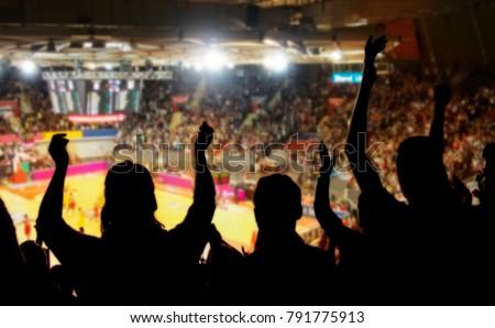 crowd cheering at basketball stadium #791775913