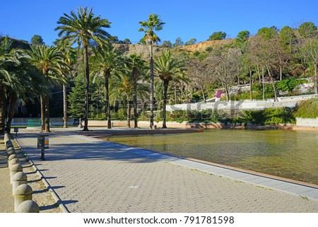BARCELONA, SPAIN -4 JAN 2018- View of the Parc de la Creueta del Coll, a park in the Gràcia and Horta districts located in Barcelona, Catalonia. #791781598
