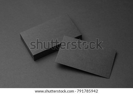 Business card on black background