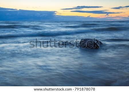 Baltic sea in Latvia, city Tuja. Sunset with rocks. Travel photo. 2015 #791878078