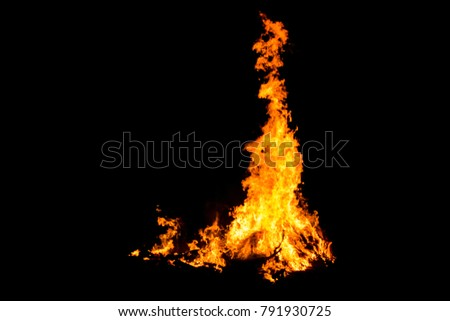 Bonfire blur silhouette Black background light. at phuket Thailand #791930725