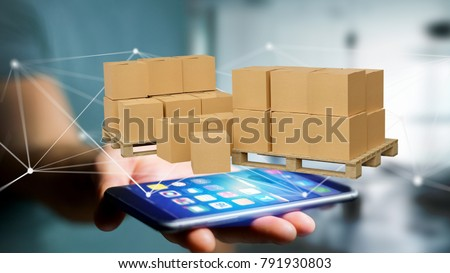 View of Pallet of carboxes with network connection system - 3d render #791930803