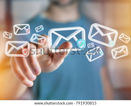 View of Approved email and spam message displayed on a futuristic interface - Message and internet concept #791930815