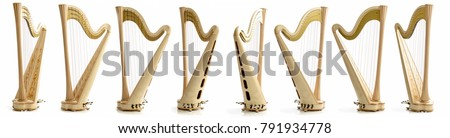 Classical music instrument. Pedal harp Royalty-Free Stock Photo #791934778