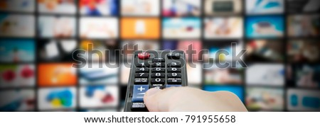 Multimedia video streaming web banner background. Television wall broadcasting concept #791955658