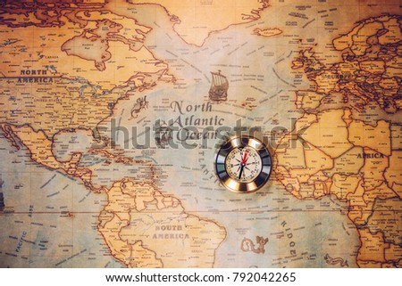 Columbus day and world map with compass #792042265