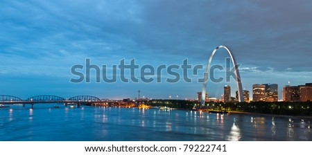 St. Louis at twilight blue hour.