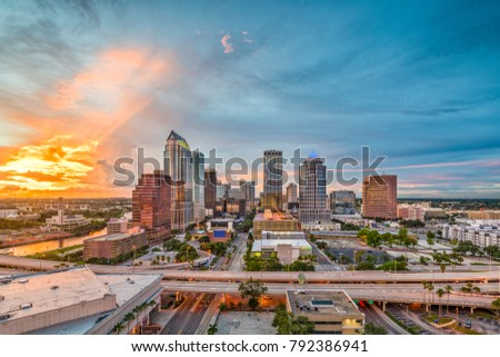 Tampa, Florida, USA downtown skyline at dusk.