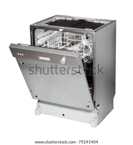 Modern built in dishwasher isolated on white #79241404