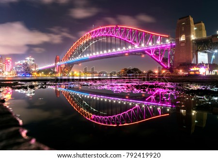Vivid Sydney - Harbour Bridge Royalty-Free Stock Photo #792419920