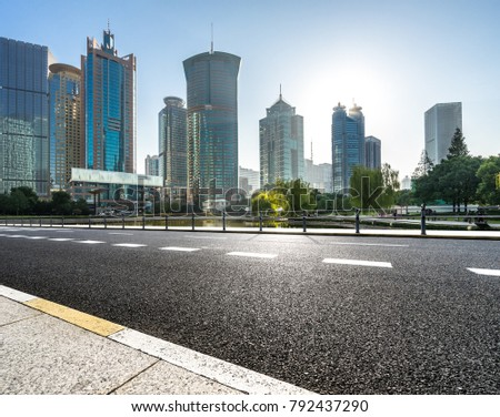city empty traffic road with cityscape in shanghai china #792437290