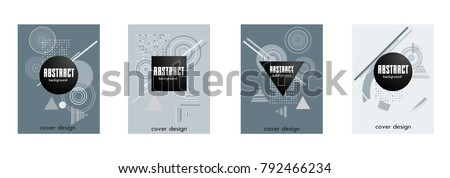 Covers templates set with bauhaus, memphis and hipster style graphic geometric elements. Applicable for placards, brochures, posters, covers and banners. #792466234