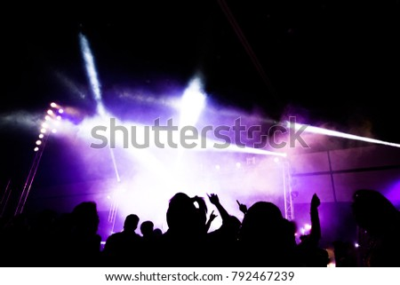 Abstract concert party silhoue with light and smoke in happy moment #792467239