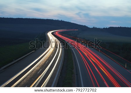 evening highway, night highway, Czech republic Royalty-Free Stock Photo #792772702