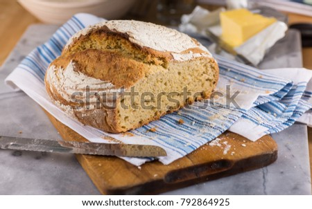 Freshly Baked Loaf of Bread Made from Einkorn Flour #792864925