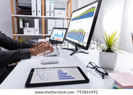 Businessperson's Hand Analyzing Graph On Computer At Workplace #792865492