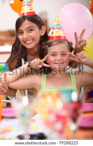 two little girls on a birthday party
