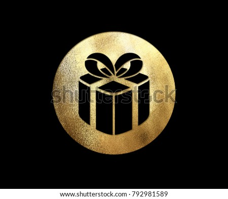 The isolated golden glitter Christmas gift box flat icon on black background #792981589