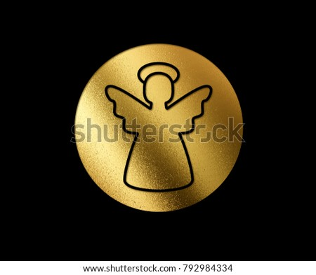 The isolated golden glitter Christmas angel flat icon on black background #792984334