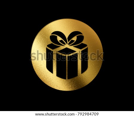 The isolated golden glitter Christmas gift box flat icon on black background #792984709