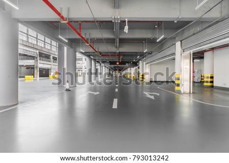 Passageway in the underground parking lot #793013242