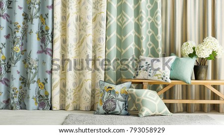 Modern living room. Room window with curtains #793058929