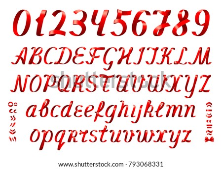 Red ribbon alphabet with numbers on white background. Italic font. Set of uppercase and lowercase letters with diacritic marks. #793068331