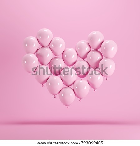 Heart shape made of Pink balloon floating on pink background. Minimal idea concept. #793069405