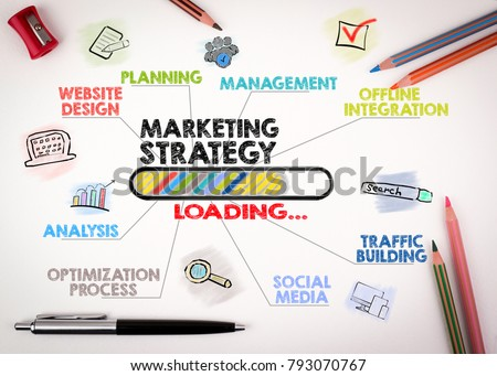 marketing strategy Concept. Chart with keywords and icons on white background #793070767