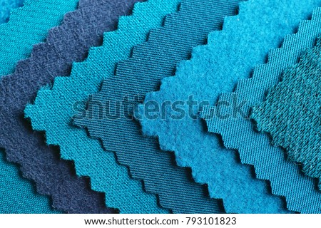 Blue fabric samples, closeup Royalty-Free Stock Photo #793101823