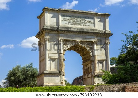 The Arch of Titus is a 1st-century honorific arch, located on the Via Sacra, Rome, Italy, just to the south-east of the Forum Romanum #793102933