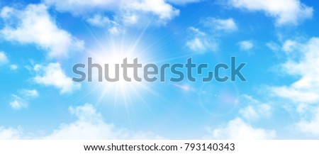 Sunny background, blue sky with white clouds and sun, vector illustration. Royalty-Free Stock Photo #793140343